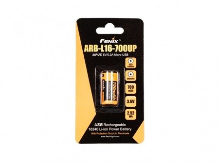 Akumulator Fenix USB ARB-L16UP (16340 RCR123 700 mAh 3,6 V)