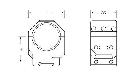 Dwuczęściowy montaż optyki Audere ADVERSUS D 30mm H 28mm 0 MOA